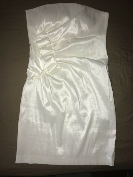 Romeo And Juliet Couture Evening White Sexy Strapless Cocktail  Mini Dress Large