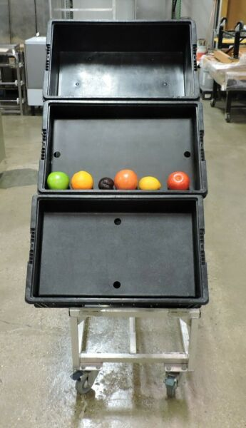 Aluminum Commercial Collapsible Produce Crate Stand With Casters
