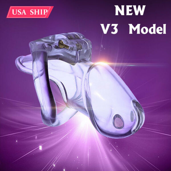 US SHIP New Locking Design Male Biosourced Resin Chastity Device V3 with 4 Rings