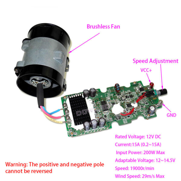 DC 12V Car Electric Turbine Turbo Fan W/ Brushless Motor Driver Board Controller