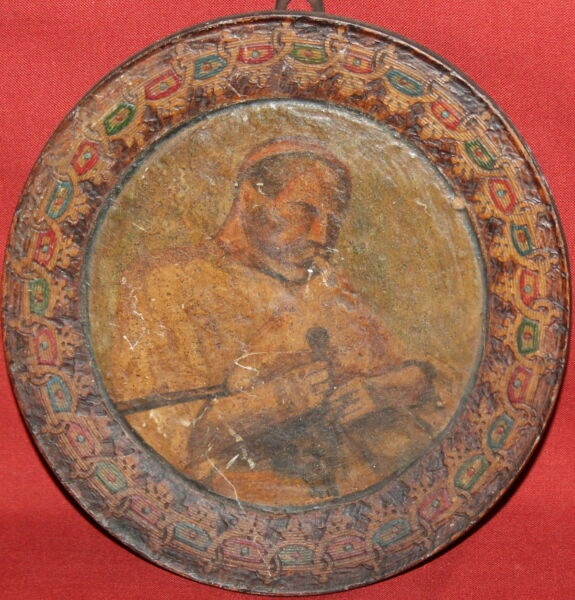 Antique Hand Painted OilWood Male Portrait Piper Pyrography Wood Plate