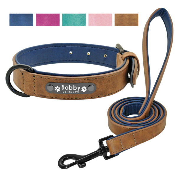 Leather Dog Collars for Large Dogs Personalized Leash Prime Engraved Soft Padded $10.99