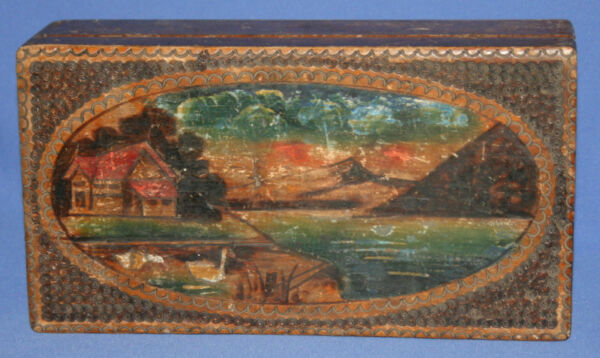 Antique Hand Painted Landscape Pyrography Wood Box