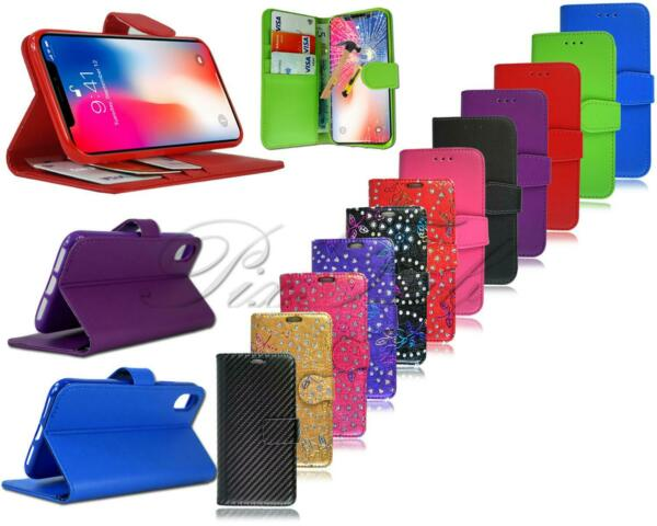For Apple iPhone XS New Genuine Leather Wallet Phone Case Cover Tempered Glass GBP 5.45