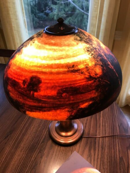 EXCEPTIONAL HANDEL REVERSE-PAINTED TABLE LAMP Large Size SIGNED & NUMBERED
