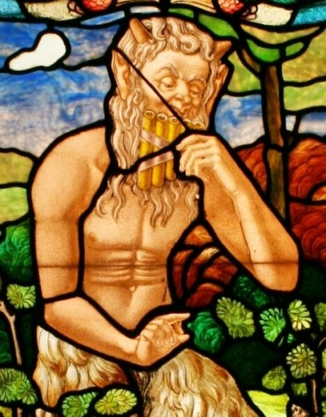 French SatyrPanFaun Mythological Fantasy Stained Glass Window w Light Box