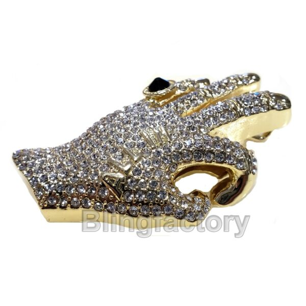 HIP HOP ICED OUT LAB DIAMOND GOLD PLATED PIMP HAND OK ALL IN LARGE PENDANT