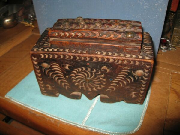 Folk Art Chip Carved Slide Top Box Spinning Wheel Design LOG TOP Inset stones