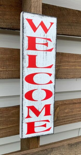 farmhouse sign wood WELCOME vertical home decor wooden rustic porch entry RED $12.99