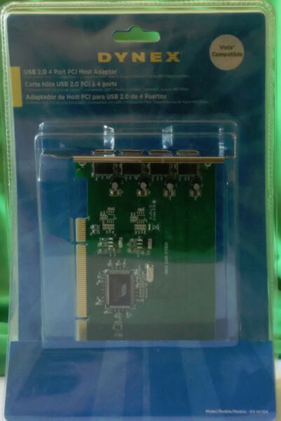 Brand New Dynex 4-Port High-Speed USB 2.0 PCI Host Adapter Desktop Card DX-UC104