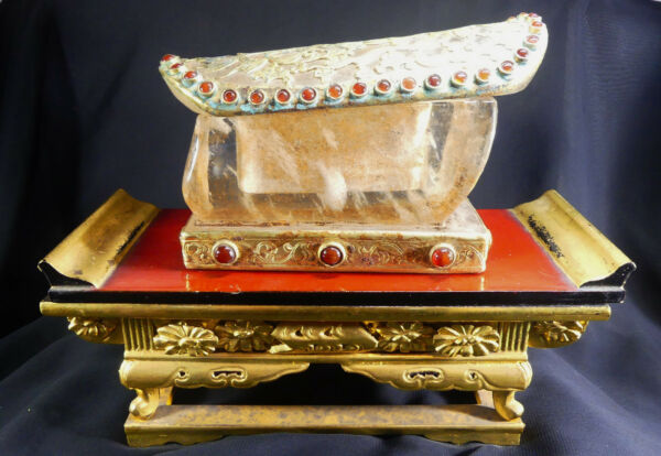 X-RARE Chinese Tang Dyn. Buddhist Reliquary Rock Crystal & Gilded Bronze Casket
