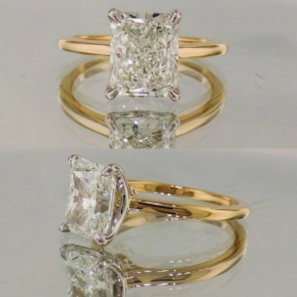2 Ct Radiant Cut Colorless Moissanite Solitaire Engagement Ring 14k Yellow Gold
