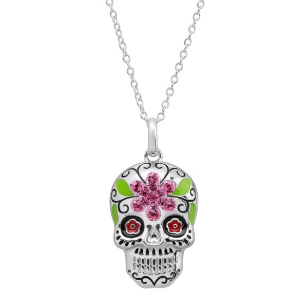 Crystaluxe Flower Sugar Skull Pendant with Crystals in Sterling Silver $23.50