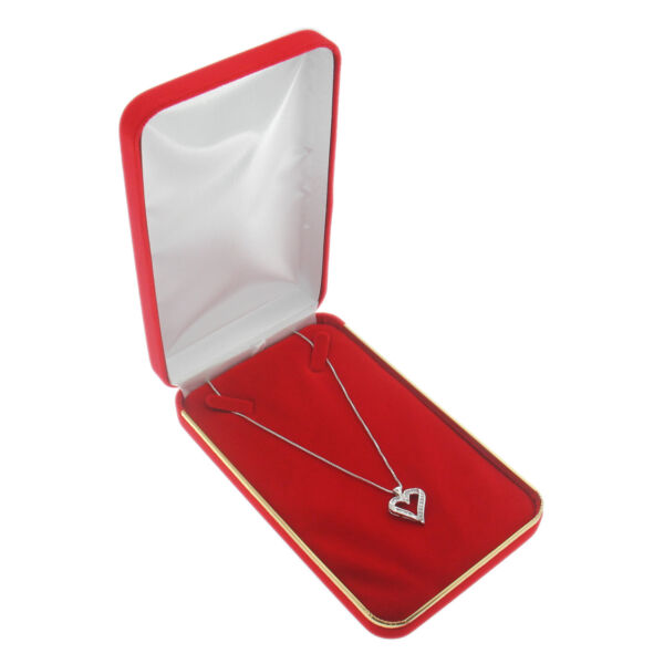 Red Velvet Chain Necklace Box Display Jewelry Gift Box Gold Trim Style Large Box