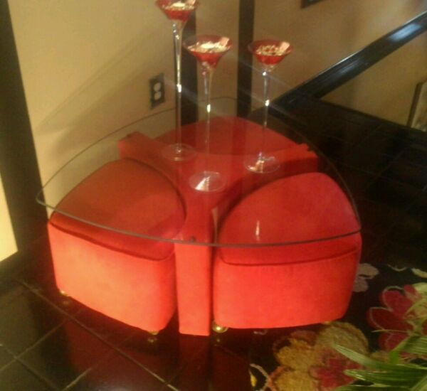 Vintage 60's-70's ModernContemporary 5 PC Glass Top Coffee Table w 3 Ottomans