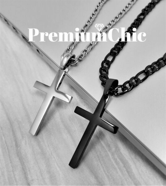 Mens Womens Stainless Steel Figaro Chain Necklace w Cross Pendant Silver Gold BK