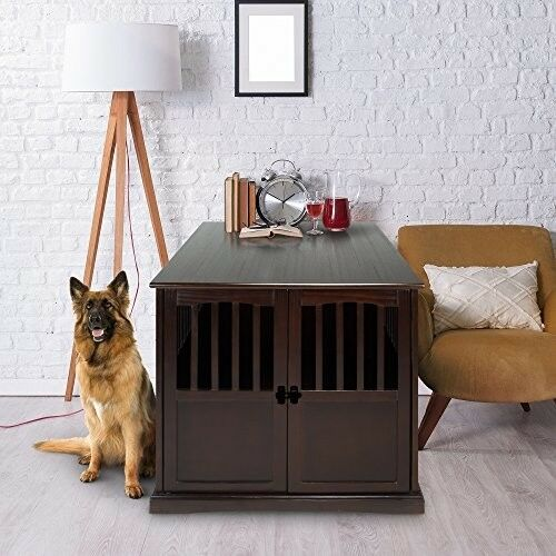 Extra Large Pet Dog Cat Crate Kennel XL Table Cage Wood Furniture House Locking