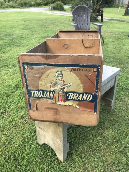 Antique Trojan Fruit Crate Wood Box 1930's Orange Produce