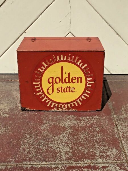 Rare vtg Golden State dairy wooden milk porch delivery box crate