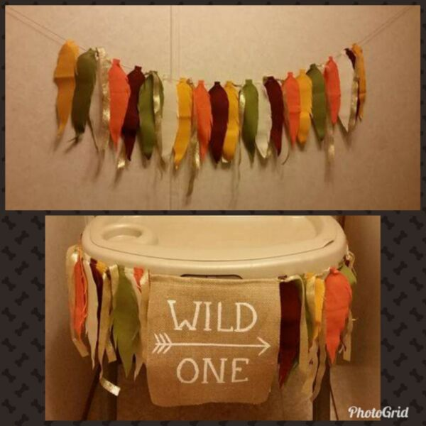 Custom Wild ONE Fabric Feather Birthday Banner Fall Colors