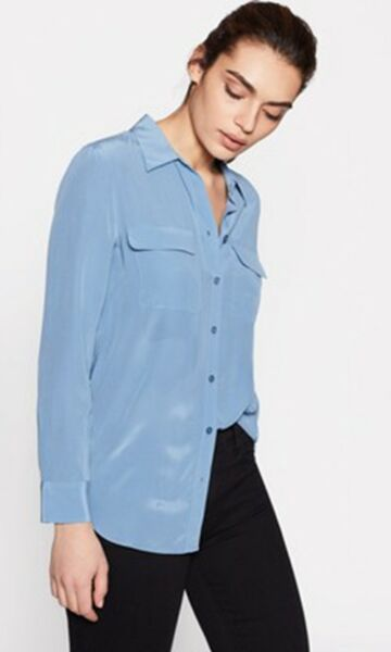Equipment Slim Signature Silk Shirt Morocco Blue