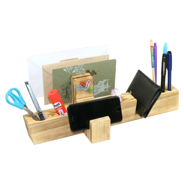 Man's Gift Handmade Wood Desktop Office Organizer for Pen Book Note and more