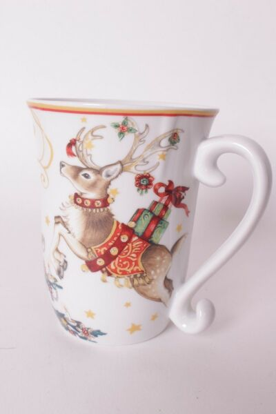 4 New Williams Sonoma Twas the Night Before Christmas Tree Reindeer coffee mugs