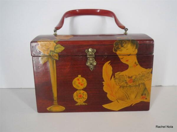 Vintage Box Purse 1950s 60s Burgundy Decoupage Girl Butterfly Wood Lucite Handle