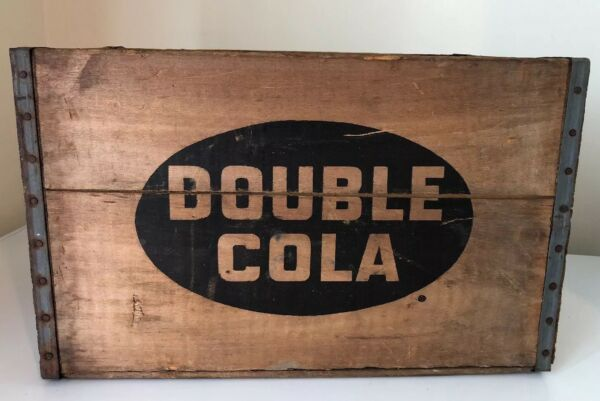 Vintage Large Double Cola Nickel Wood Wooden Crate Box Very Nice Clean RARE