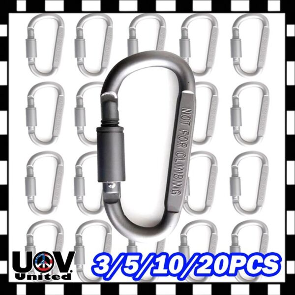20 x Ideal Aluminum Carabiner D ring Key Chain Keychain Clip Hook Buckle Outdoor $6.05