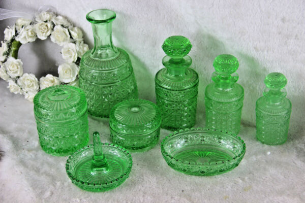 Antique Val Saint Lambert 8 Piece Apple Green Crystal Glass vanity Dresser Set