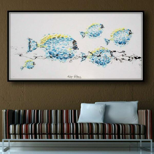 Blue Fish 55quot; animal oil painting blue tones calming composition handmade $540.00
