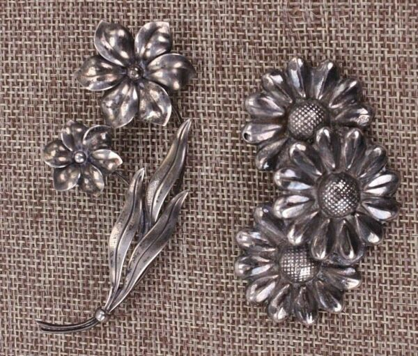 HSB Harry S Bick & Mexico Vtg Sterling Lot 2 Silver Floral Flower Brooch Pins
