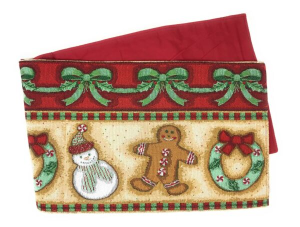 DaDa Bedding Gingerbread Christmas Table Runners Festive Holiday Woven Tapestry