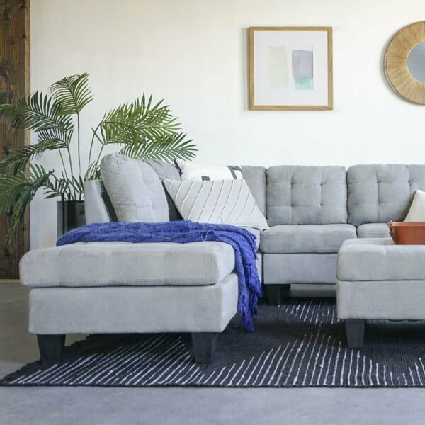 Contemporary 3PC Grey Sectional Sofa Microsuede Reversible Chaise with Ottoman $669.99