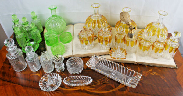 Antique Belgian Val saint lambert amber vanity set dresser + green + clear 1906