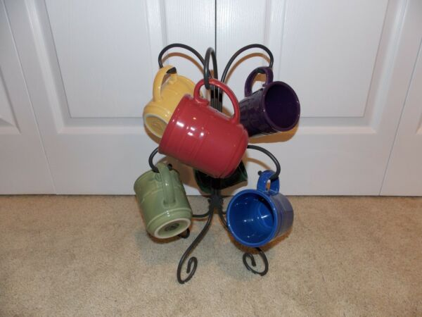 * LONGABERGER * Wrought Iron (MUG TREE) + Pottery (12 OUNCE USA MUGS) coffee tea