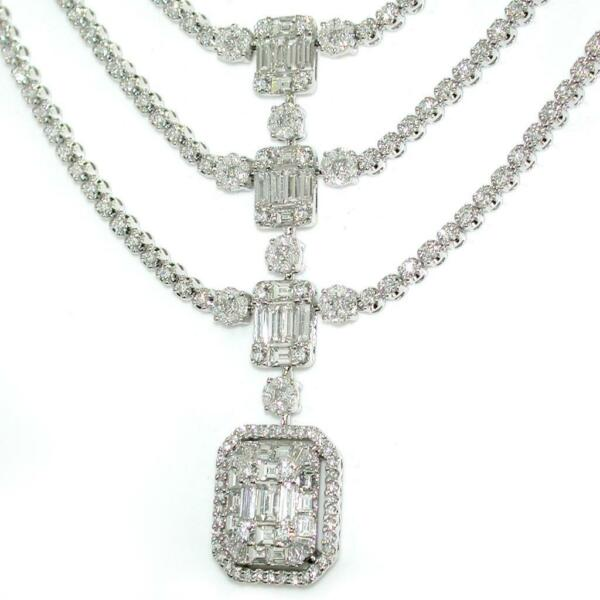 10.66 TCW Diamonds Pendant Necklace In Solid 18k White Gold 16