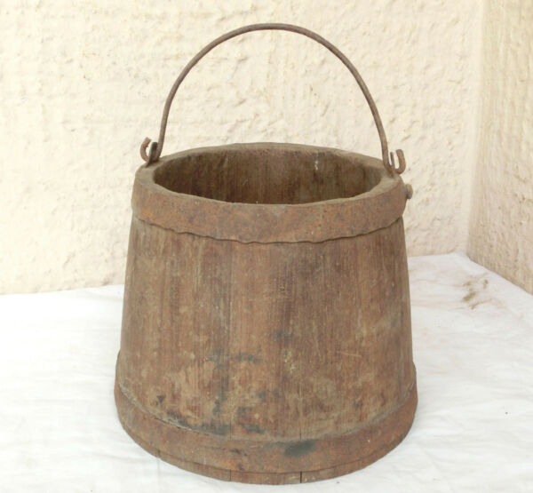 Superb Antique Rustic Farmhouse tight Wooden water Pail Bucket wrought Iron Band