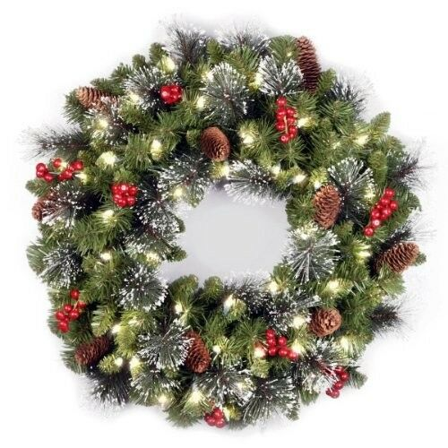 Premium Christmas Wreath 24in Crestwood with Cones Berries and 50 lights