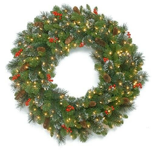 Premium Christmas Wreath 30in Crestwood with Cones Berries and 70 lights