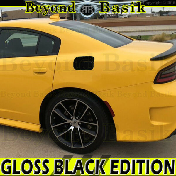 For 2011-2019 Dodge Charger GLOSSY BLACK Fuel Tank Gas Door COVER Overlay