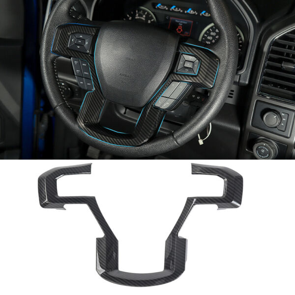 Carbon Fiber Grain Steering Wheel Moulding Trims Kit for Ford F150 Accessories $17.95