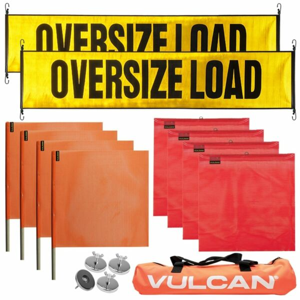 VULCAN Premium Oversize Load Flags Reflective Banners & Magnets Kit