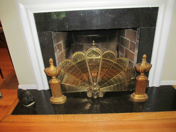 VINTAGE ANTIQUE PAIR OF CAST BRASS FIREPLACE ANDIRONS
