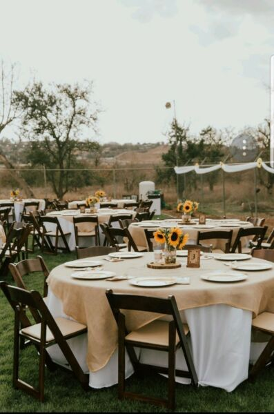 90 inch round tablecloth square overlay (Natural Burlap)