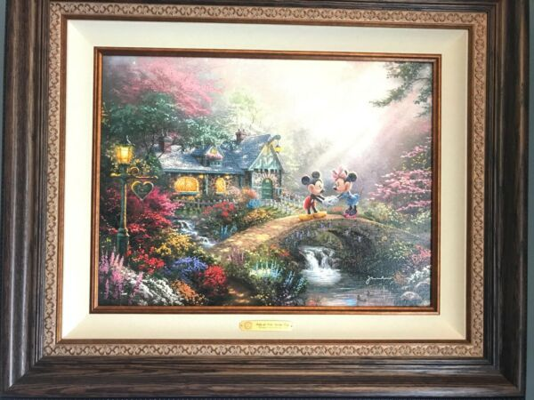 Thomas Kinkade Mickey and Minnie Sweetheart Bridge 18x24 EE Canvas Walnut Framed