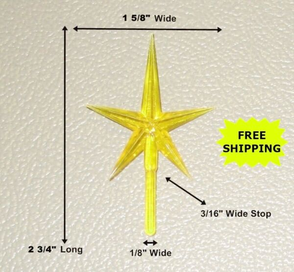 Yellow Ceramic Christmas Tree topper Star 2 3 4quot; tall **FREE SHIP**