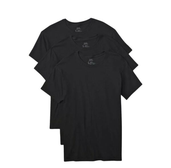 Hanes Tag Less Crew Neck T-Shirts 3-Pack Mens 100% Cotton Black - White - Gray!!