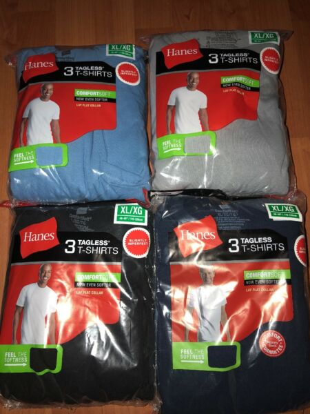 Hanes Mens Pocket T-Shirt 3 Pack Tagless S-3XL 100% Cotton All Colors  !!